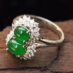 缅甸天然翡翠A货镶金老坑冰种满绿葫芦戒指