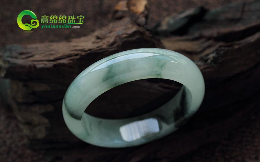 天然缅甸老坑A货翡翠冰糯种翡翠手镯 内径59mm
