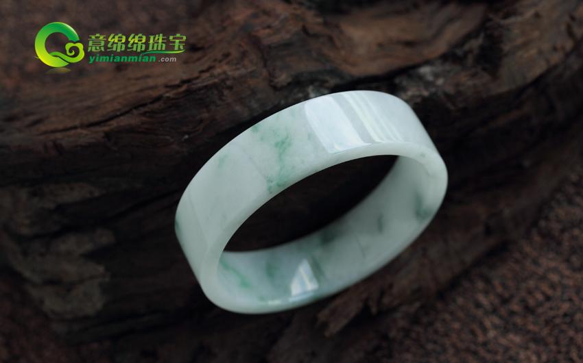 天然緬甸老坑翡翠A貨糯種翡翠手鐲 方鐲 內徑51mm