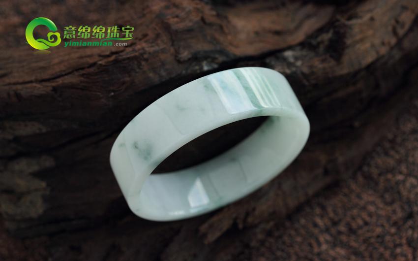 天然缅甸老坑翡翠A货糯种翡翠手镯 方镯 内径51mm
