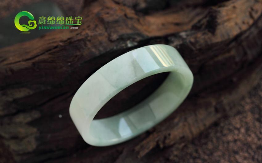 缅甸老坑A货糯种翡翠手镯 方镯 内径51mm