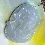 怡然静安缅甸天然翡翠A货老坑冰种紫罗兰观音头挂件