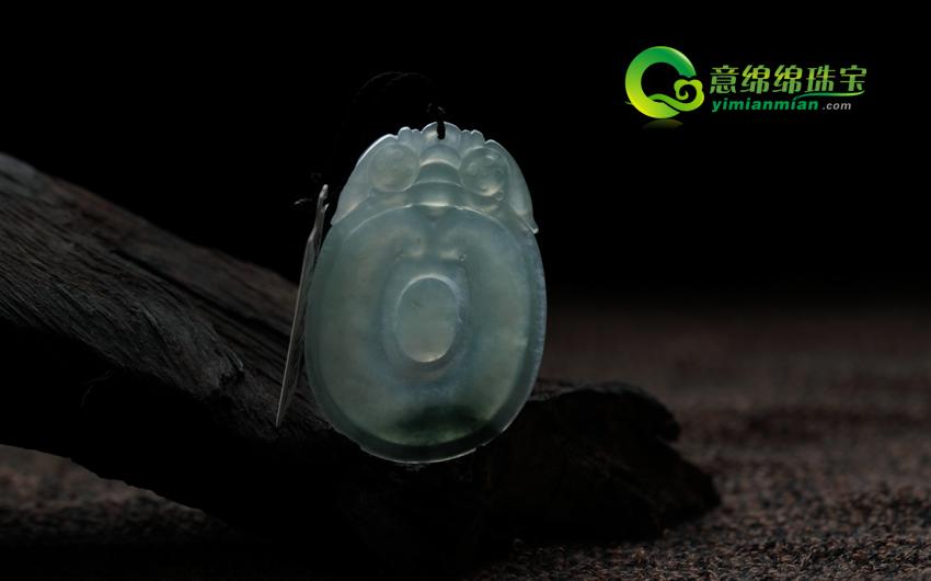 花月与共缅甸天然翡翠冰种A货福贝挂件 翡翠福贝吊坠