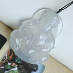缅甸天然老坑冰种翡翠观音挂件 A货翡翠观音吊坠
