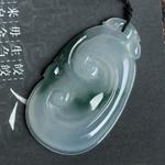 缅甸天然翡翠老坑冰种飘花A货玉如意挂件