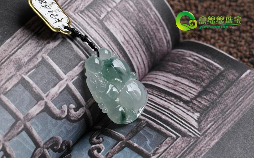 西凉花落缅甸天然冰种A货翡翠福禄寿貔貅挂件