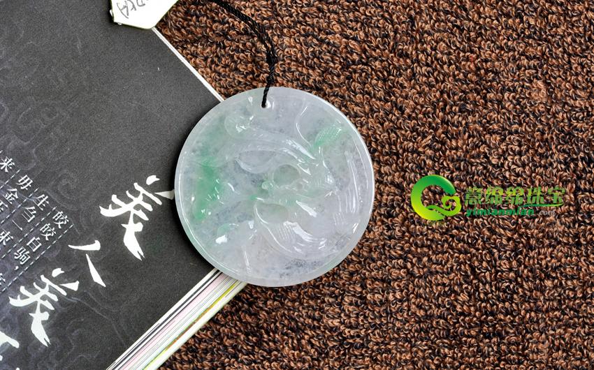 袖间千年缅甸天然冰糯种翡翠A货龙挂件