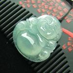 天然缅甸老坑冰种A货翡翠佛公挂件