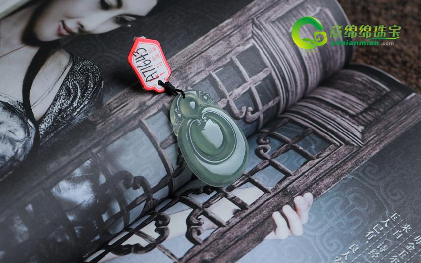 盈盈明净缅甸老坑冰种油清A货天然翡翠福贝挂件