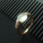 伊人香缅甸老坑冰种A货天然翡翠镶金戒指