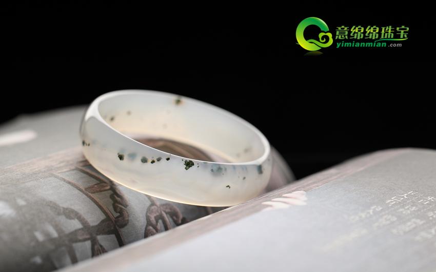 颜丹鬓绿天然浮萍绿草玛瑙手镯 内径57.9mm