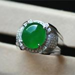 混体通透缅甸天然翡翠A货玻璃种镶金戒指