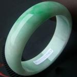 露红烟绿天然缅甸A货冰糯种俏阳绿翡翠手镯  内径60.5mm