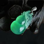 缅甸老坑玻璃种天然满绿翡翠A货玉葫芦吊坠