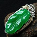 缅甸老坑冰玻璃天然绿翡翠A货金钻玉树叶子挂件-金枝玉叶