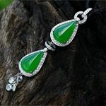 緬甸老坑玻璃種滿綠天然翡翠A貨玉水滴吊墜