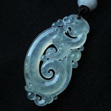 缅甸老坑玻璃种天然翡翠A货玉貔貅吊坠-神龙戏珠