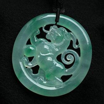 緬甸老坑玻璃種天然綠翡翠A貨玉貔貅掛件-有求必應