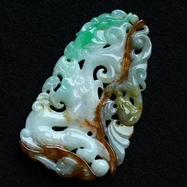 缅甸老坑糯冰种天然三彩翡翠A货玉挂件-游龙戏凤