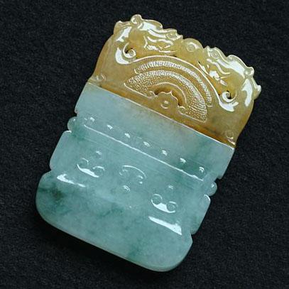 缅甸老坑冰种天然黄翡翠A货玉挂件-双龙合璧玉龙佩
