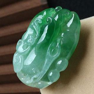 缅甸老坑冰种天然绿翡翠A货玉佛手挂件-福寿如意