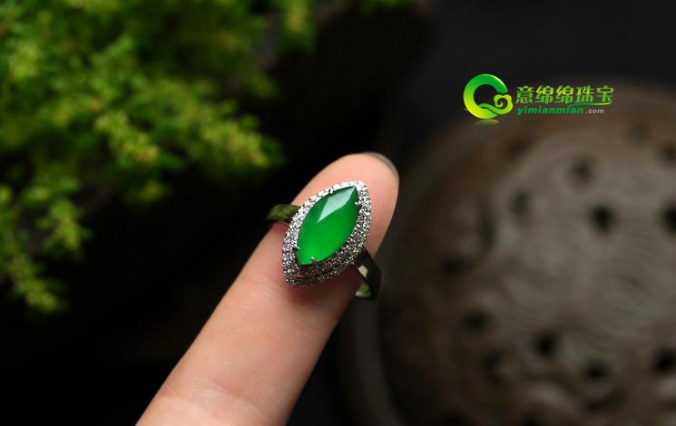 天然满绿翡翠A货 马眼戒指 女款 缅甸玉指环