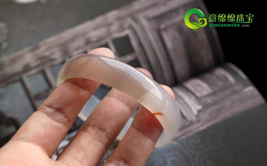 天然橘黄色玛瑙手镯内径53.3mm