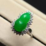 天然满绿翡翠A货玉葫芦戒指 女款 冰种福禄女戒