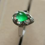 玻璃种满绿翡翠A货玉水滴戒指女款