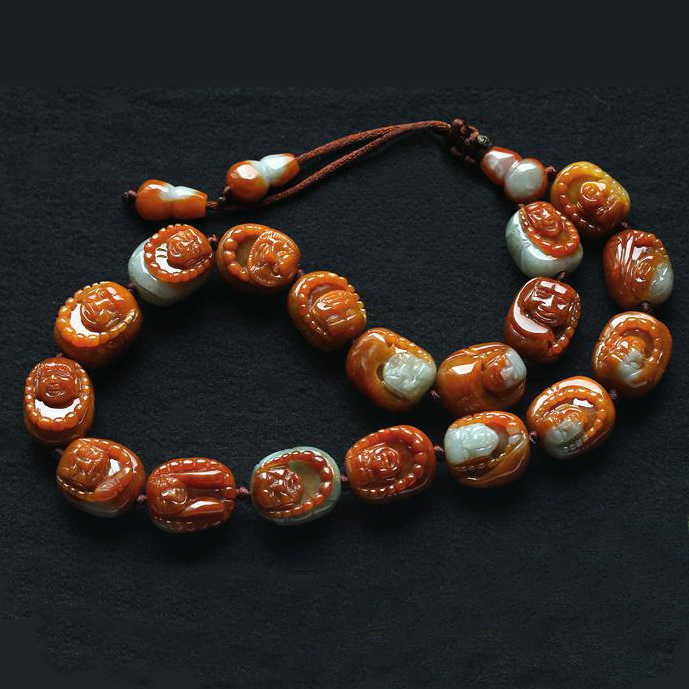 缅甸俏色巧雕天然红威廉希尔A货十八金刚罗汉护身玉手链