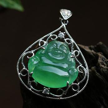 老坑玻璃种满绿A货翡翠18K白金钻石玉弥勒佛吊坠