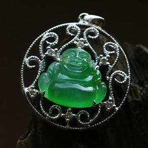 天然翡翠A货老坑玻璃种满绿翡翠18K白金钻石玉佛吊坠