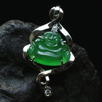 天然翡翠A貨老坑玻璃種滿綠翡翠玉佛吊墜-笑口常開
