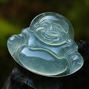 天然翡翠A货老坑玻璃种翡翠玉弥勒佛挂件-笑口常开