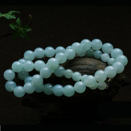 缅甸天然翡翠A货老坑糯冰种翡翠玉项链-珠圆玉润
