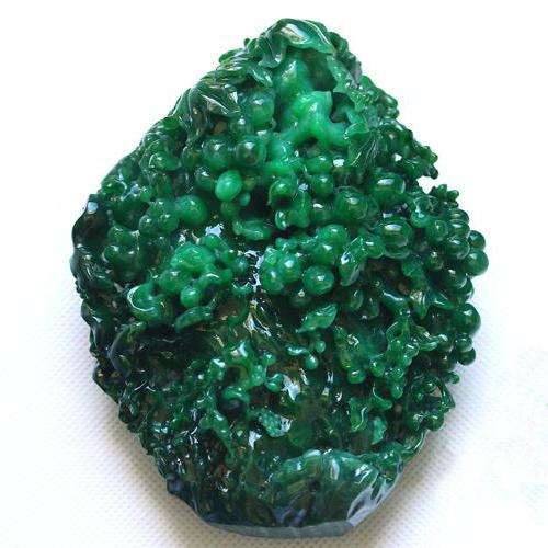 老坑糯冰種天然滿綠翡翠A貨玉擺件-花開富貴