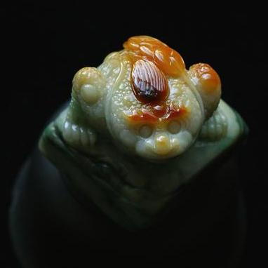 三彩翡翠玉金蟾擺件-印章-鴻運當頭