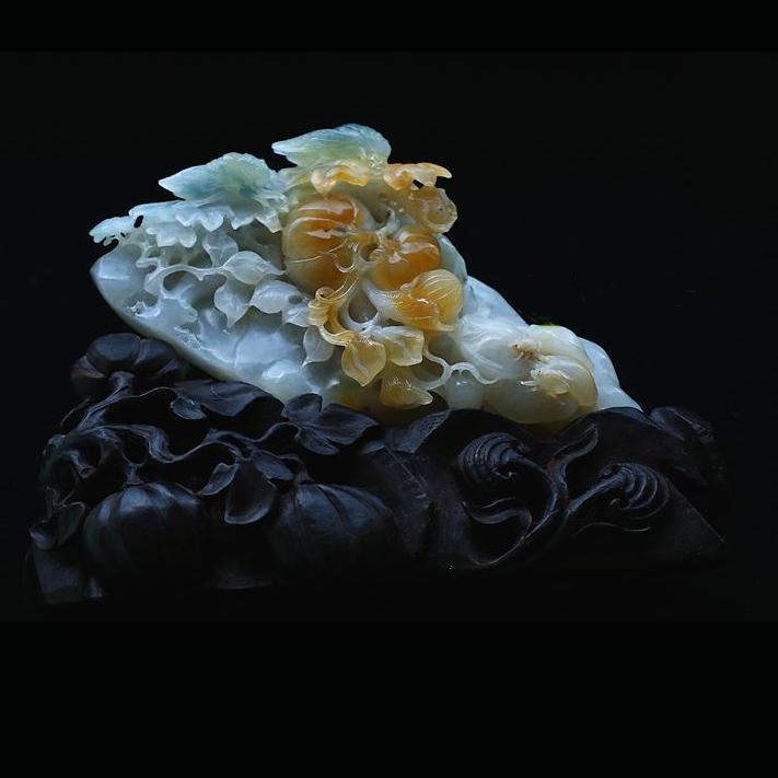 缅甸老坑糯冰种三彩天然翡翠A货玉摆件-遇知音-花开富贵