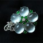 缅甸老坑玻璃种天然翡翠A货白金钻石玉吊坠-戒指一套两用(议价)(特)