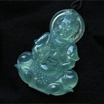 缅甸老坑玻璃种天然翡翠A货玉观音挂件-吉祥平安