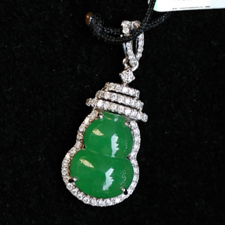 福禄双全天然缅甸A货翡翠冰种金带钻满绿葫芦挂件