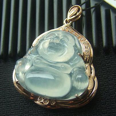 天然缅甸A货老坑翡翠玻璃种镶金佛公挂件
