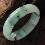 天然缅甸A货龙8娱乐首页冰种飘绿花龙8娱乐首页手镯 内径58mm