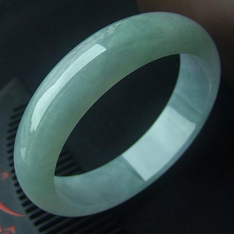 凤娇水媚天然缅甸翡翠A货玉镯老坑冰种手镯 内径59mm