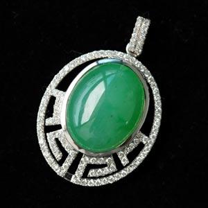 流光婉转缅甸老坑冰种满绿天然翡翠A货玉吊坠-18K白金钻石镶嵌