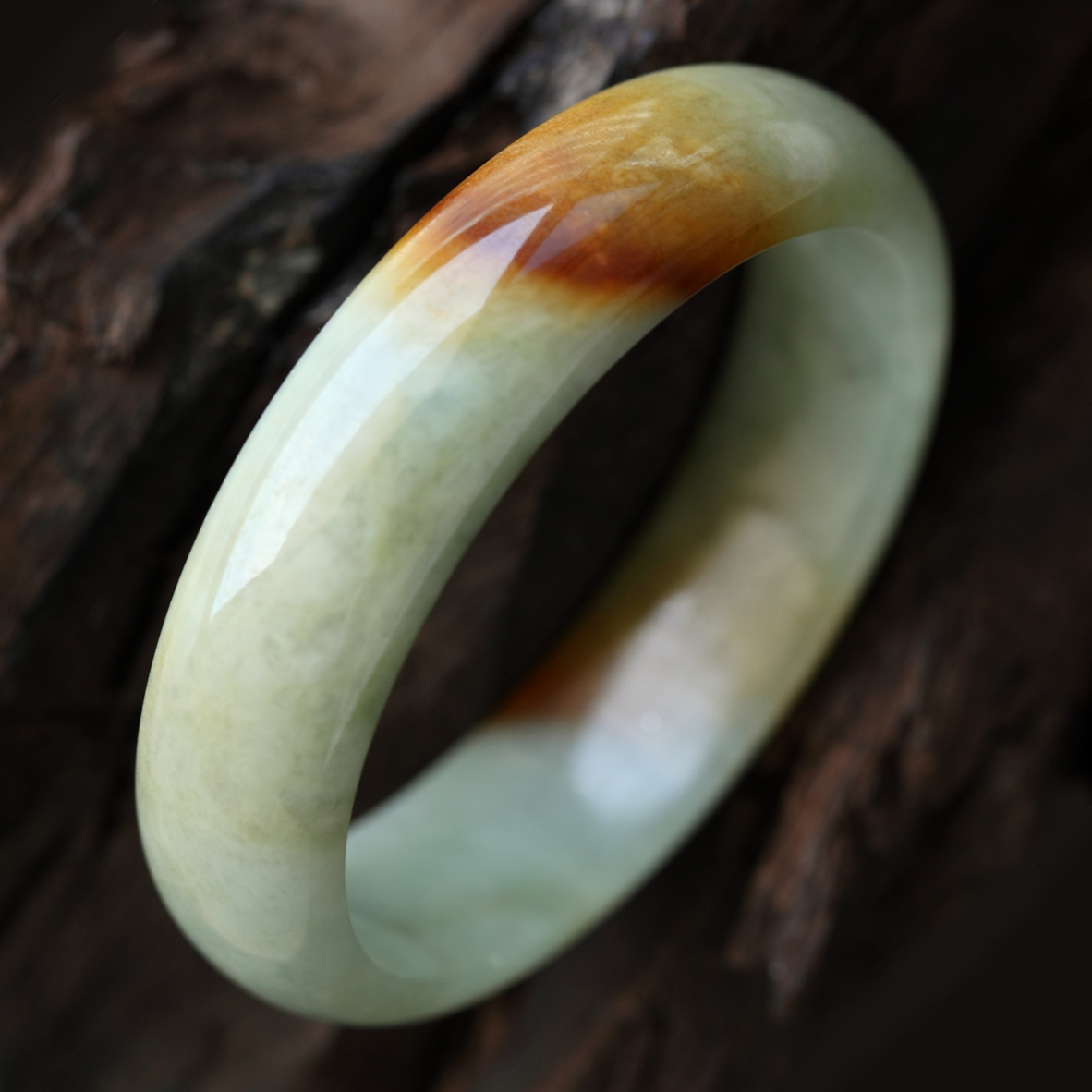 珠紗遮面緬甸天然翡翠A貨糯種飄黃翡貴妃手鐲 內徑52mm