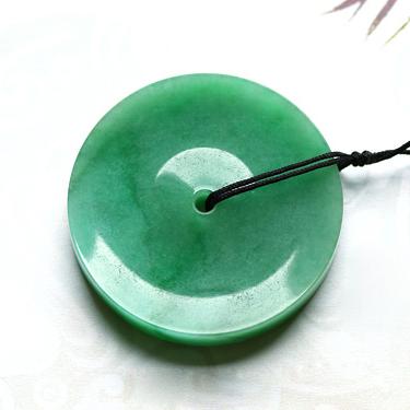 珠围翠绕天然缅甸A货翡翠老坑冰糯种满绿平安扣挂件