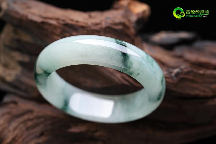 緬甸老坑A貨冰糯種飄綠花翡翠手鐲 內徑59mm