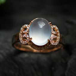 灼灼其华天然缅甸A货玻璃种翡翠A货玉石蛋面如意戒指-女款