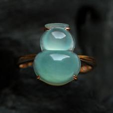皓如凝脂天然缅甸A货冰玻璃种翡翠玉石葫芦戒指-女款